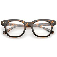 Modern Metal Rivets Square Clear Flat Lens Horn Rimmed Eyeglasses 46mm