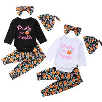 Cathery Thanksgiving Newborn Infant  Baby Boys Girl Pumpkin Clothes Tops Romper Pants Hat Outfits Set
