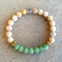 Independence and Balance, Sunstone and Aventurine Mala Bracelet