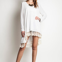 Long Sleeve Sweater with Lace Detail