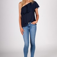 Navy One Shoulder Ruffle Top