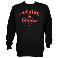 Crooks & Castles 65.00 Crooks & Castles Greatest Hits Cocaine & Caviar Crewneck Sweater in Black - 3XL