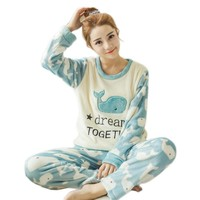 2017 Autum Winter Womens Pajama Sets Long Sleeve Women Sleepwear Thick Flannel Pijamas girls nightwear for woman