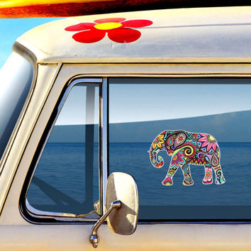 Elephant Car Decal Colorful Design Bumper Sticker Laptop Decal Pink Green Teal Yellow Jungle Flowers Cute Car Decal Hippie Boho Tribal