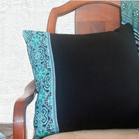 """20"""" Teal Pillows Vintage Hmong Embroidery Cross Stitch Cushion Covers"""