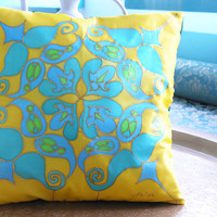 """Hand Painted Silk Cushion. 35x35cm. """"Sultan"""". Turquoise, Yellow, Green. Original Design by Ma'at."""
