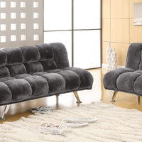 Furniture of america CM2904GY 2 pc marbelle gray champion fabric futon sofa bed and chair