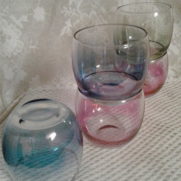 Iridescent Roly Poly Tumblers, Retro Barware, Rainbow Pastel Colors, Set of Five, Festive Holiday Serving, Nog, Brandy