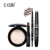 Cocute Makeup Tool Kit 4 PCS Cosmetics Including Lipstick Eyebrow pen Foundation and Mascara for Summer gift  Lipstick