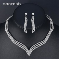 Mecresh Simple Crystal Bridal Jewelry Sets Silver Color Rhinestone Earrings Necklace Sets for Women Wedding Accessories TL296