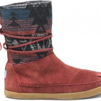 TOMS Shoes Burgundy Suede Jacquard Nepal Boots Women's Winter Shoes,