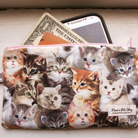 Handmade Cat Zipper Pouch - Zipper Cat Clutch Purse Bag - Cat Accessories Crazy Cat Lady Accessory Gifts for Cat Lovers Realistic Cat Pouch