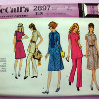 Vintage 1970's Dress or Tunic and Pants Misses' Size 10 McCall's 2897 Sewing Pattern Uncut