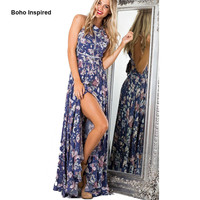 2017 Boho vintage floral print women summer dress female beach resort halter long maxi dress sleeveless vestidos mujer clothing