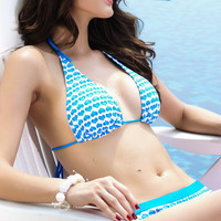 Blue Heart Printed Swimwear with Push-up Halter Top