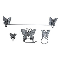 Lori's Butterfly Bath Assessories Cast Iron 4 pc w/ hardware