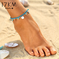 17KM  Summer Turquoise Beads Anklet Foot Chain Ankle Snow Bracelet Charm Leaf Anklet Tassel Beach Vintage Foot Jewelry Gift