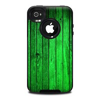The Bright Green Highlighted Wood Skin for the iPhone 4-4s OtterBox Commuter Case