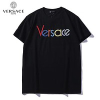 VERSACE New Popular Women Men Colorful Embroidery Round Collar T-Shirt Top Tee Blouse Black