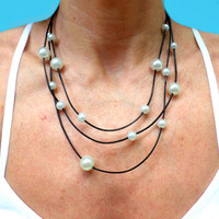 Leather and Pearl Necklace - 3 Strand Necklace - Pearl and Leather Jewelry Collection, gift, Chic
