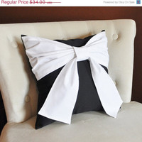 MOTHERS DAY SALE Throw Pillow White Bow on Black Pillow 14x14 -Black and White Pillow-