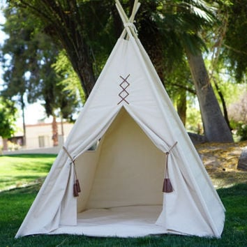 Ready to ship Original large Teepee tent extra high/ canvas kids Play tent / Tipi Wigwam or Playhouse with poles and Door Ties