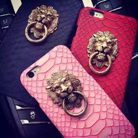 i6 6s 4.7/Plus Capa Sexy Snake Skin Phone Back Case For Apple iPhone 6 6S 4.7/For iphone 6 6S Plus 5.53D Lion Head Stand Cover