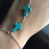 Turquoise Cross Hand Chain Braclet