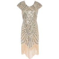 Shining 1920's Style Flapper Dress Vintage Great Gatsby Charleston Sequin