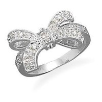 Bow Ring Cubic Zirconia size 5, 6, 7, 8, and 9 Rhodium Over Sterling Silver
