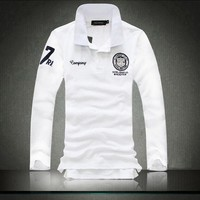 2018 New Spring Summer Simple Men's Casual Long Polo Shirts, Fashion Badge Embroidery POLO Shirts Men , Plus Size Polo Shirt Men