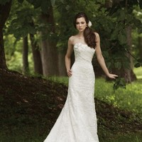 Ivory White A-line Chiffon Empire Flowers Kathy Ireland by 2be - Bridal Lace Ruching Satin Spaghetti Straps Strapless Wedding Dresses Photos & Pictures - WeddingWire.com