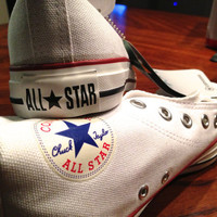 Unisex White Converse High Tops (Size 9.5 W, Size 7.5 M)