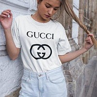 LV Louis Vuitton GUCCI GG classic printed letter round neck half sleeve T-shirt