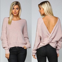 Boho cozy cable knit women's open back knot round neck ribbed sweater
