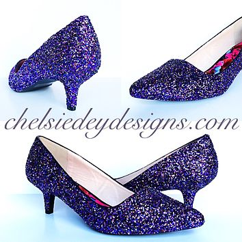 Plum Glitter Pointed Pumps, Lilac Silver Low Wedding Shoes