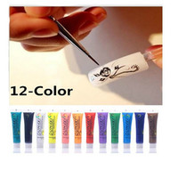 12pcs Acrylic UV Gel Design 3D Paint Tube Nail Art Pen Nail Polish False tips Drawing