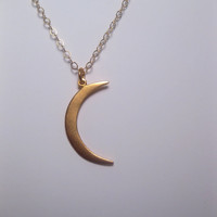 Beautiful Night Crescent Moon Phase Celestial Necklace 24k Gold Vermeil