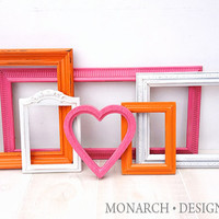 Hot Pink, Orange, White Collection - Wall Gallery - Upcycled Set Of 6