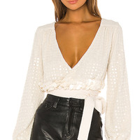 X by NBD Bea Embellished Top in Sand Ivory | REVOLVE