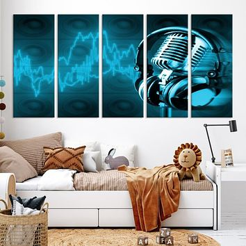 Large Music Wall Art Microphone Canvas Print