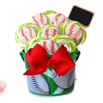 Baseball Lollipop Candy Arrangement, Baseball Centerpiece, Sports Party, Centerpiece, Baseball, Team Party, Sports Centerpiece, Birthday