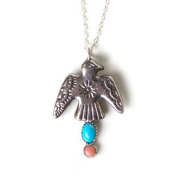Thundering Spirit - Vintage Thunderbird Concho Sterling Silver Necklace, Sleeping Beauty Turquoise, Coral