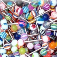 Tongue Ring Assorted Lot of 20 Stainless Steel Piercing Barbells 14 Gauge No Duplicates (20 Pieces)