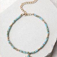 Ettika Horn of Plenty Turquoise and Gold Choker Necklace