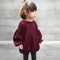 Crimson Bubble-sleeve Dress for Baby and Toddler Girls