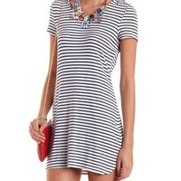 Striped & Hooded T-Shirt Dress by Charlotte Russe