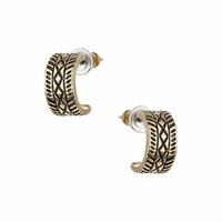 Etched Mini Hoops - Gold