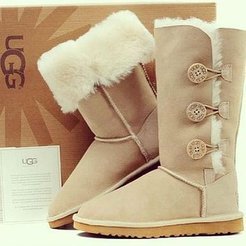 UGG sale high top snow boots trendy plush hand-sewn buttons non-slip plush boots fashion ladies snow Shoes 1