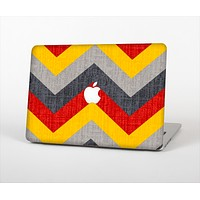 The Scratched Yellow & Red Accented Chevron Pattern V3 Skin Set for the Apple MacBook Air 11""